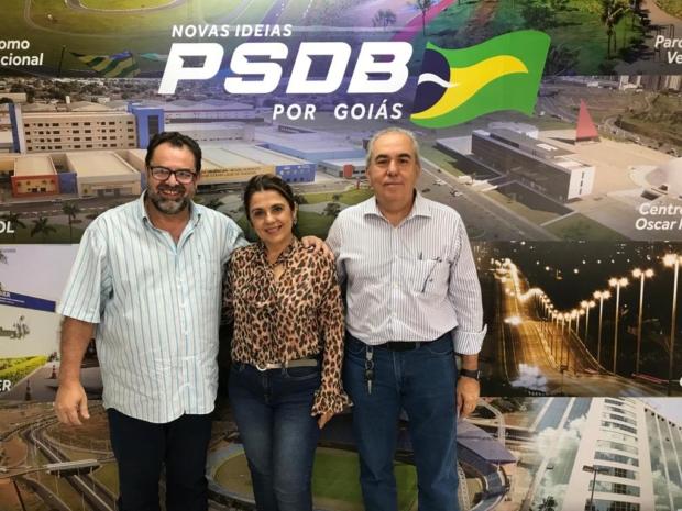 Vivaldo Guimarães, Eneida Figueiredo e Joaquim Guilherme: Morrinhos terá candidato do PSDB | Foto: Divulgação do PSDB